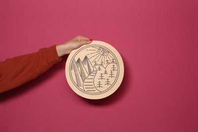 Wood Outdoor Badges -  River & Mountains