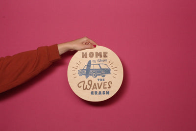 Wood Outdoor Badges -  Home is Where The Waves Crash