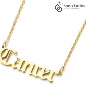 Zodiac Name Gold Plated Pendants