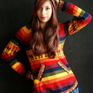 Rainbow sweater / Alpaca wool cotton blend