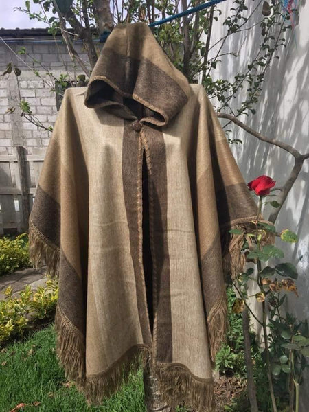 Brushed hooded Poncho