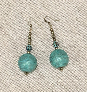 Drop Earrings (Aqua Patina Brass)