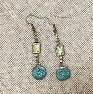Dangle Earrings (Aqua Patina Brass)