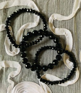 Three Jet Black Bracelets