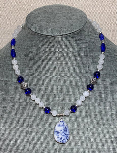 Blue Sodalite & White Jade Necklace