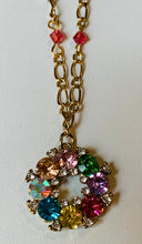 Load image into Gallery viewer, Crystal Chain Necklace with Wreath Pendant