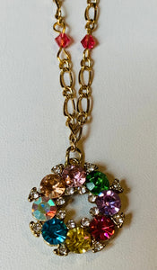 Crystal Chain Necklace with Wreath Pendant