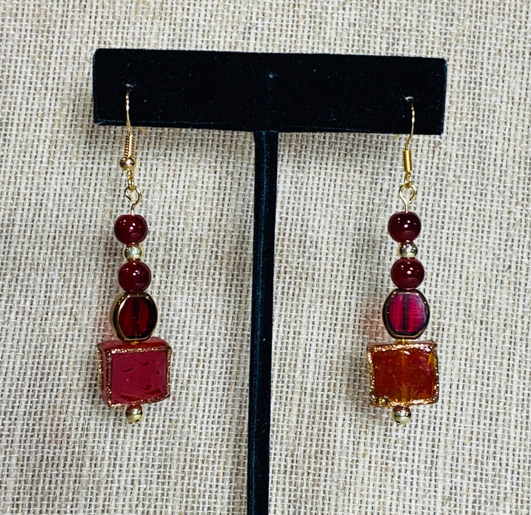 Drop Earrings (Cranberry Glass & Gold)