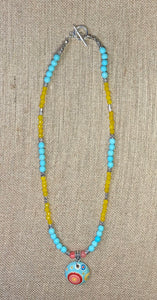 Funky Aqua & Yellow Necklace