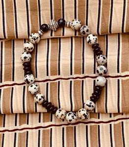 Men's Dalmatian Jasper Stretch Bracelet