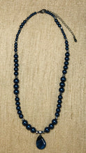 Load image into Gallery viewer, Dark Blue Glass Pearl Necklace & Earrings Set