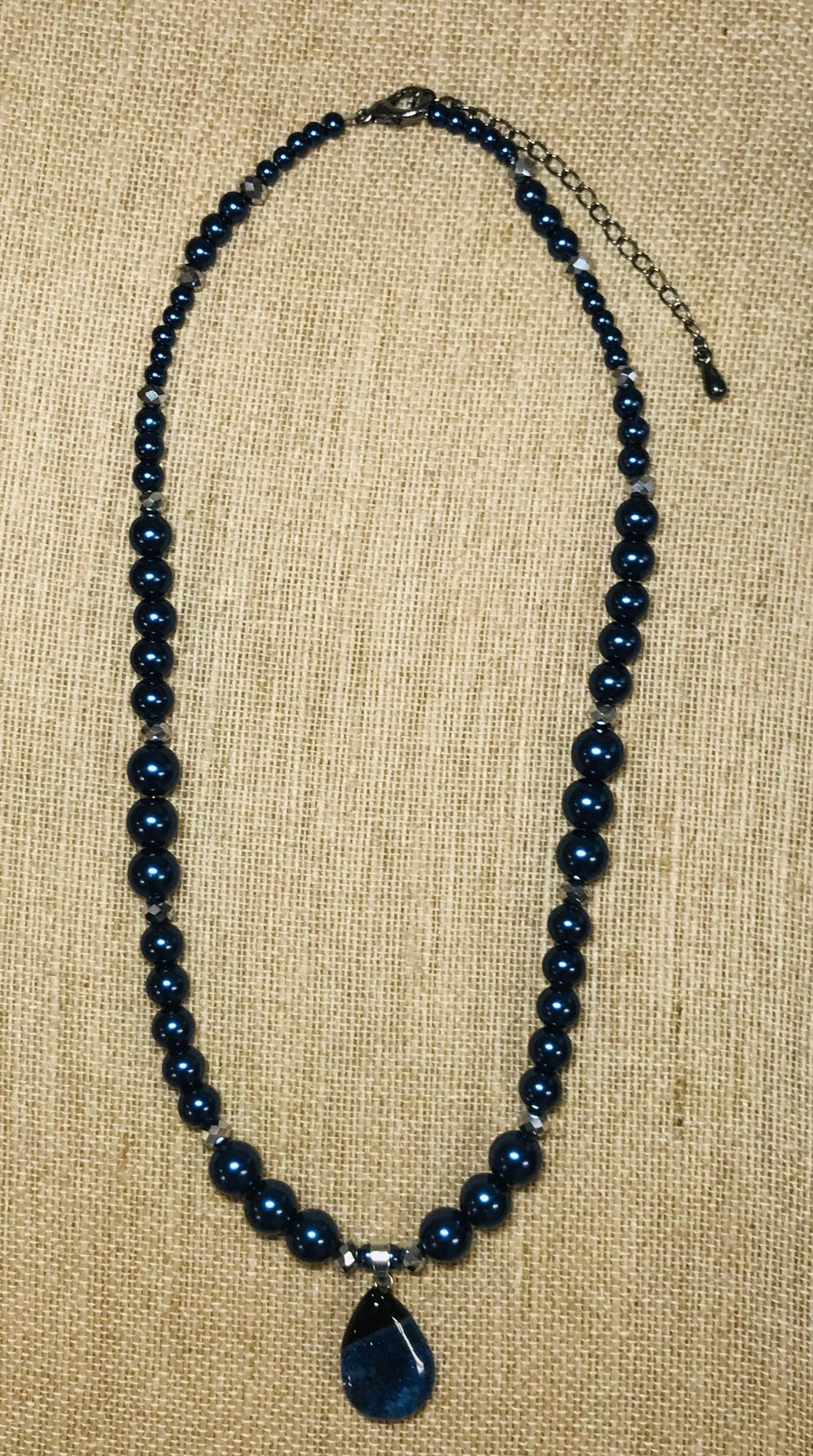 Dark Blue Glass Pearl Necklace & Earrings Set