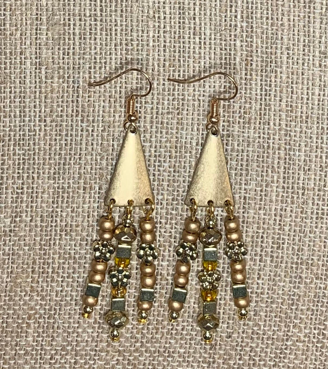 Triple Drop Earrings (Golden)