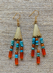 Triple Drop Earrings (Orange & Turquoise)