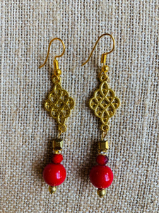 Dangle Earrings (Red & Gold)