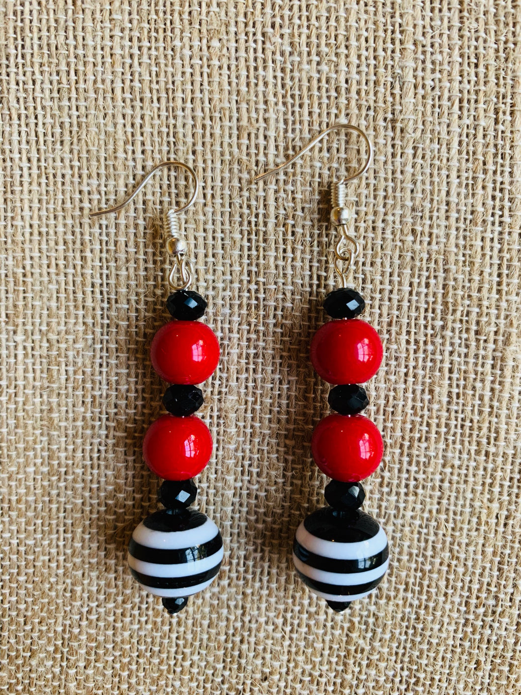 Drop Earrings (Red, White, & Black)