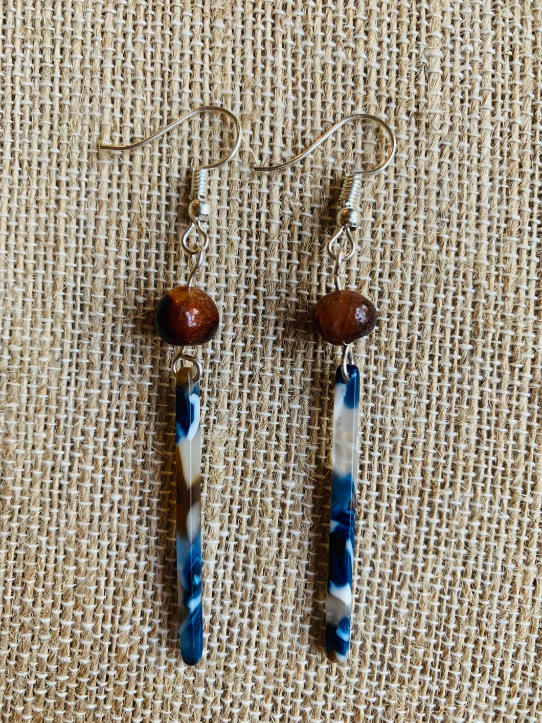 Dangle Earrings (Brown & Blue)