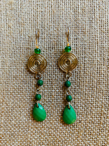 Drop Earrings (Silver & Green)