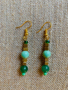 Drop Earrings (Green & Gold)