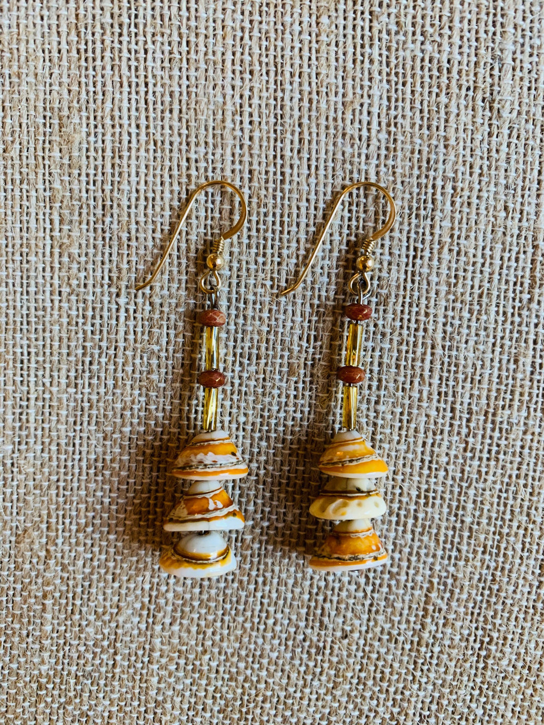 Drop Earrings (Golden & Orange Shell)