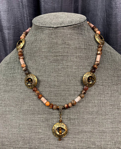 Brass Halo Necklace with Earth Tone Beads