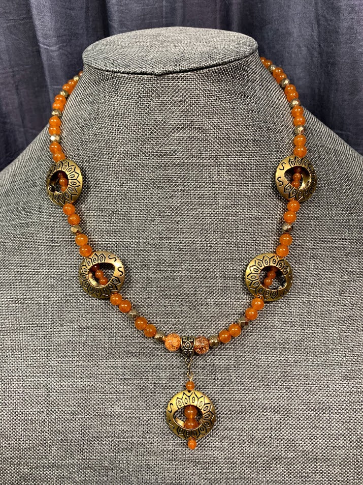 Brass Halo Necklace with Orange Beads