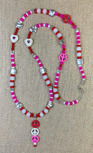 Love & Peace Necklace (Pink & Red)