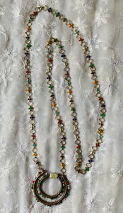 Delicate Multi-Colored Golden Chain Necklace with Beaded Pendant