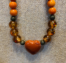 Load image into Gallery viewer, Orange Heart Necklace