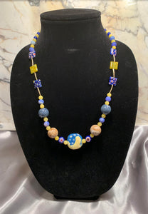 Kazuri Bead Necklace (Blue/Yellow)