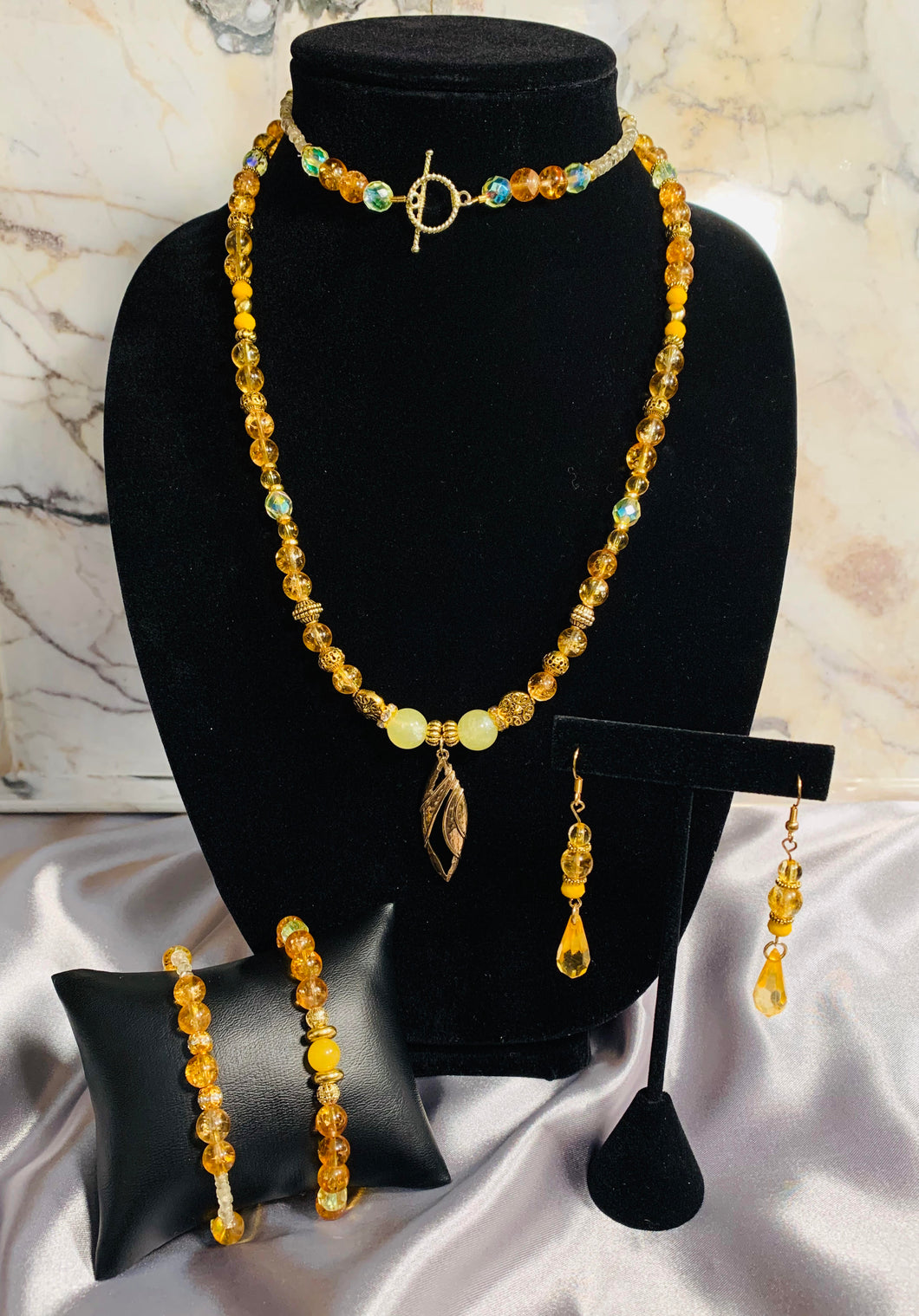 Amber Toned Jewelry Set