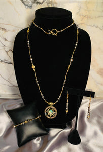 Pewter Crystal & Golden Necklace, Bracelet and Earring Set