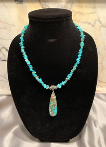 Turquoise Necklace with Jasper and Pyrite Teardrop Pendant