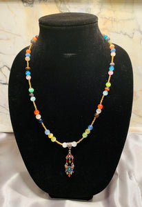 Multi-Colored Selenite Necklace with Crystal Tassel Pendant