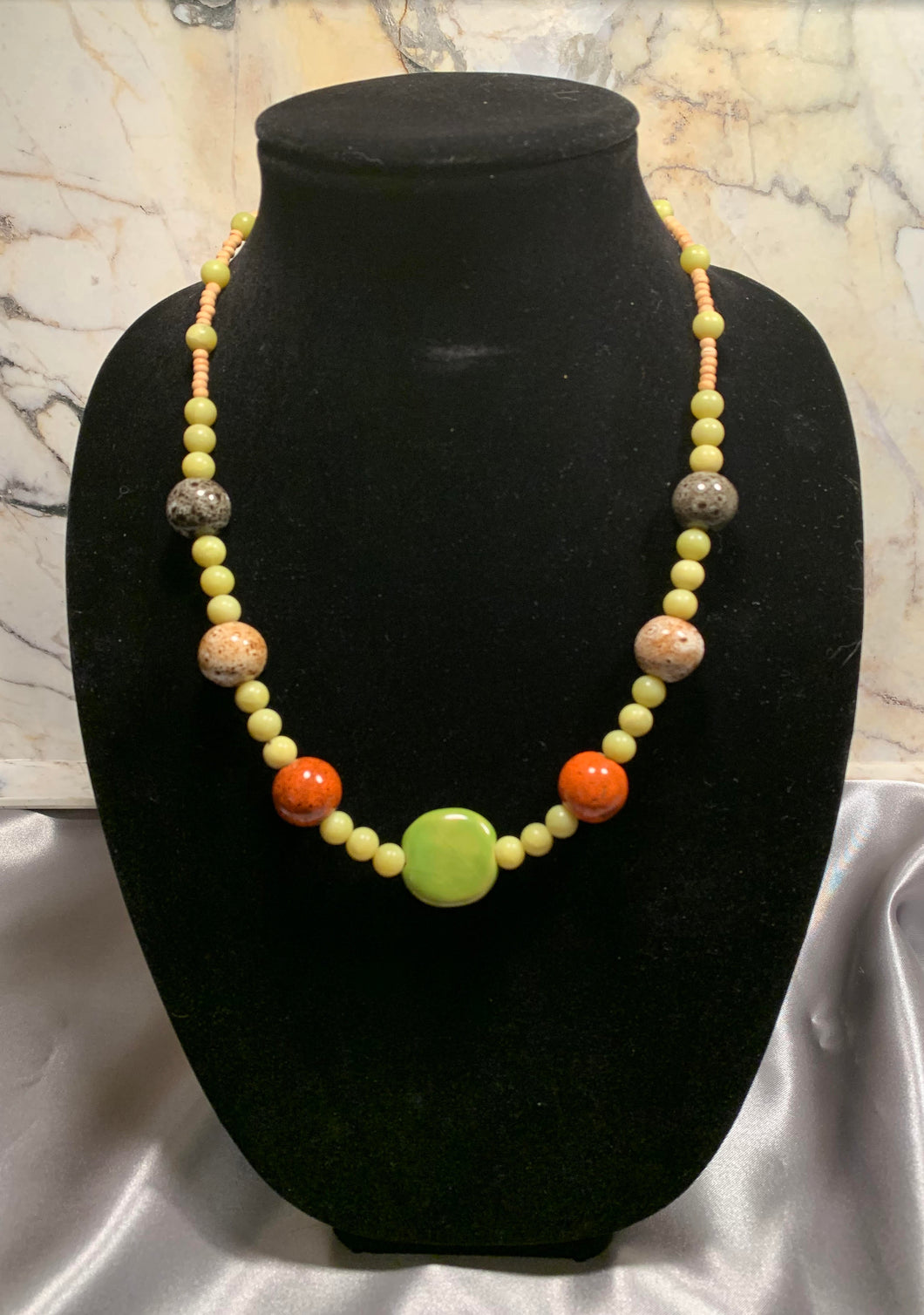 Kazuri Bead Necklace (Orange/Green)