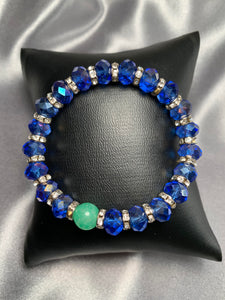Blue Crystal and Green Jade Stretch Bracelet