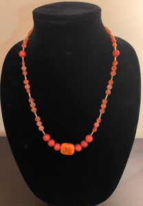 Orange Jasper and Carnelian Necklace with Ceramic Pendant