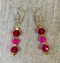 Load image into Gallery viewer, Drop Earrings (Hot Pink & Gold)