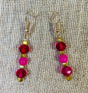 Drop Earrings (Hot Pink & Gold)