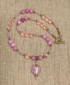 Pink Austrian Crystal Heart Necklace