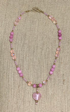 Load image into Gallery viewer, Pink Austrian Crystal Heart Necklace