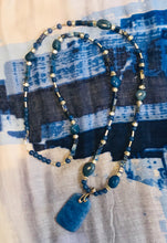 Load image into Gallery viewer, Long Blue Aventurine & Sterling Silver Necklace