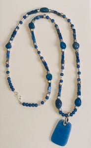 Long Blue Aventurine & Sterling Silver Necklace