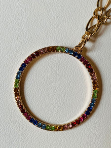 Crystal Chain Necklace with Circle Pendant