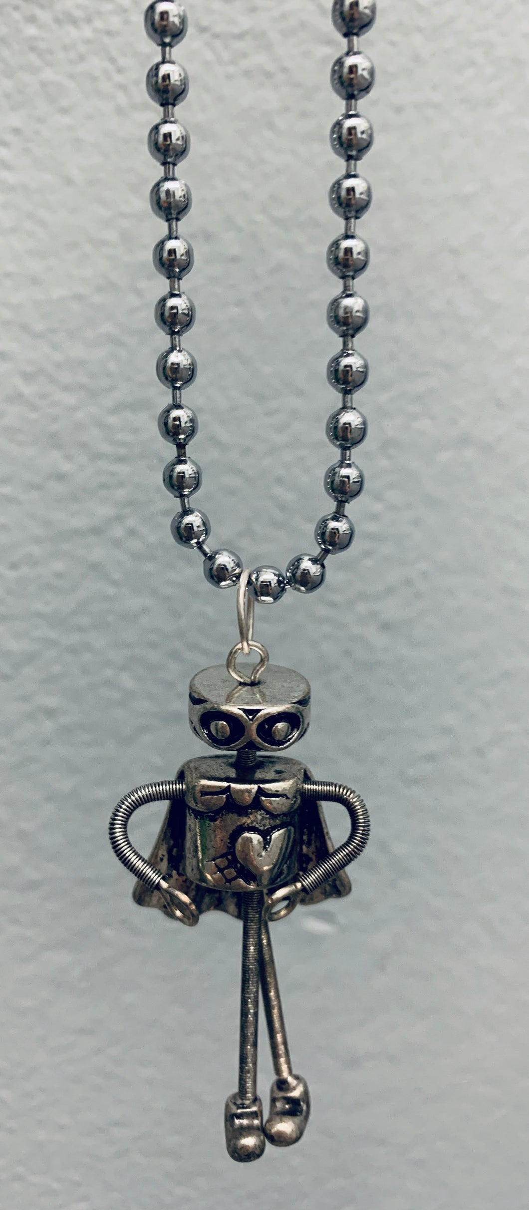 Robot Pendant on Ball Chain Necklace