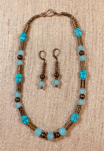 Aqua Scarab Necklace/Earring Set