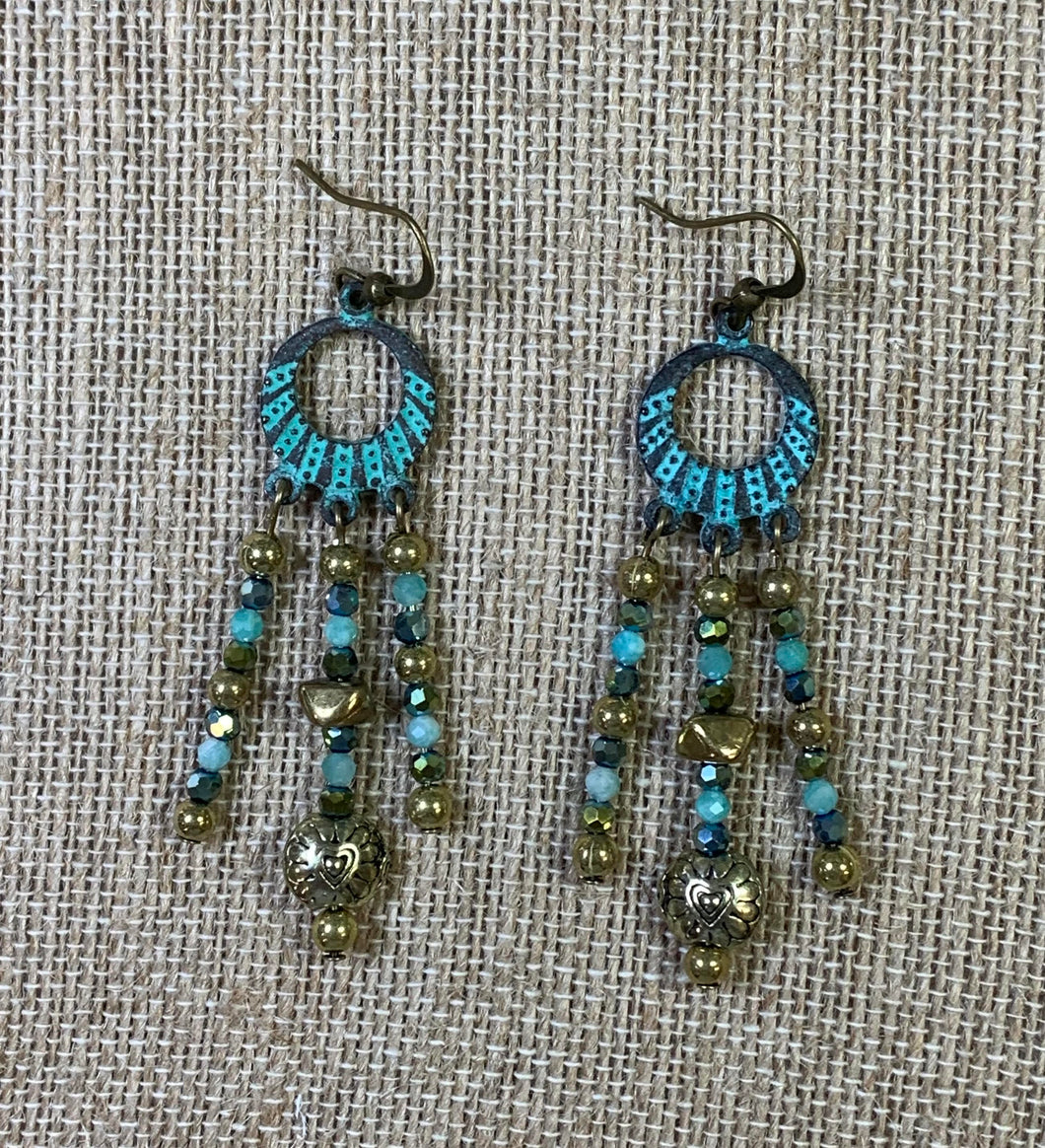 Triple Drop Earrings (Turquoise Patina)