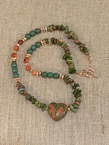 Unakite Heart Necklace