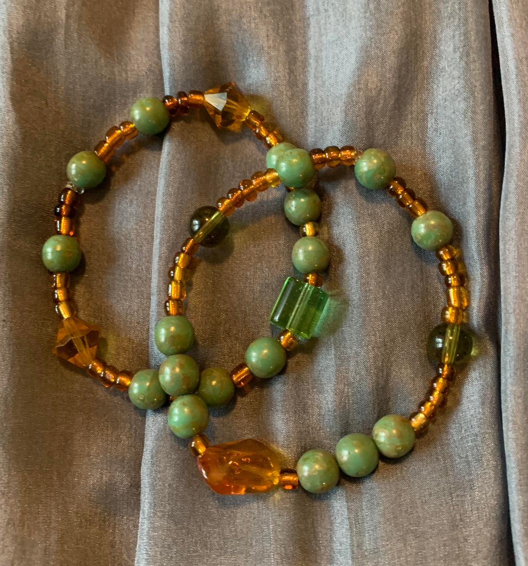Green and Amber Bracelet Duo