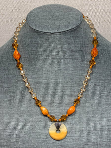Golden Necklace with Swarovski Crystals